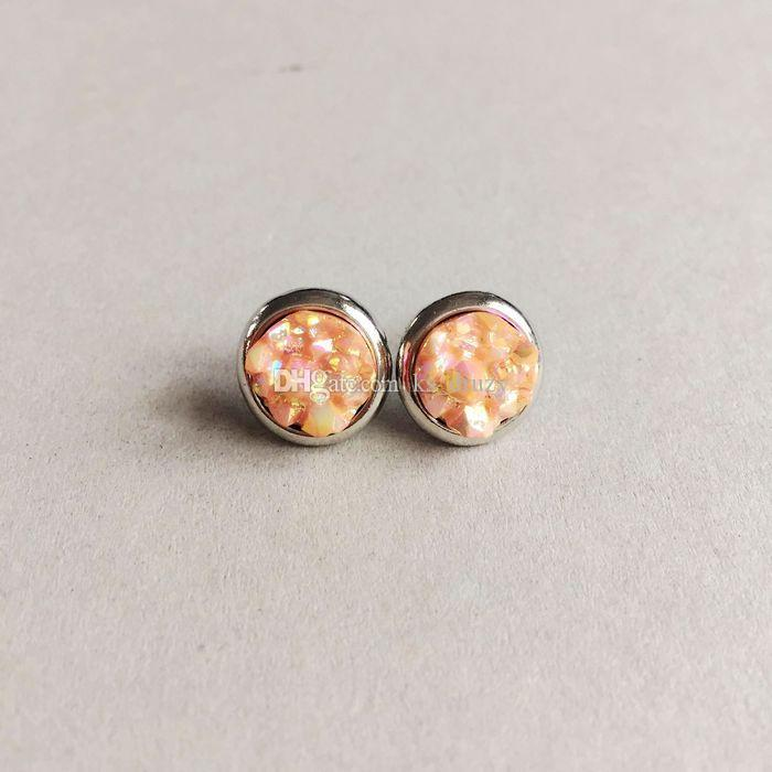 Fashion Round Druzy Drusy Stone Stud Earrings New York fashion Crystal Earings gold color cute brand jewelry For women