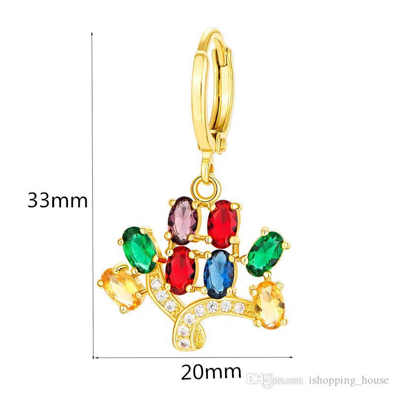 Schmuck-Set 18K Gelbgold überzieht 925 Silber überzogene bunte CZ Baum Ohrringe Halskette für Frauen für Partei-Hochzeit JNST1029