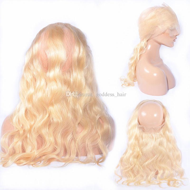 Blonde 613 Pre desplumados 360 Frontal de la venda del cordón con la trama del pelo Paquetes de la onda malasia del cuerpo con 360 Full Lace Frontal 22.5x4x2