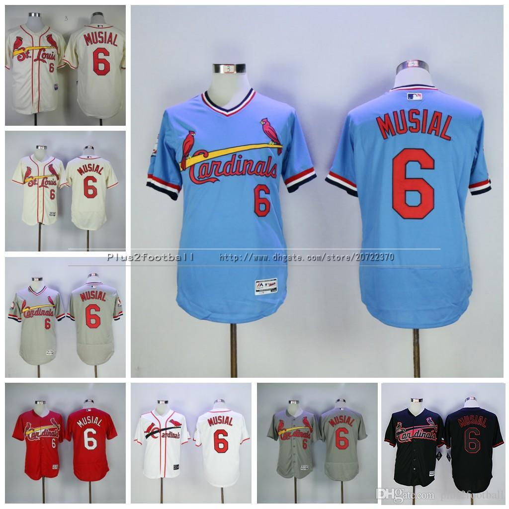 303b3057 st.louis cardinals 6 stan musial white flexbase authentic collection ...