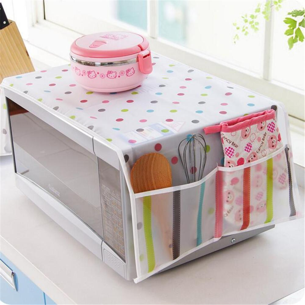 Romantic Microwave Oven Cover With 2 Pouch Dustproof