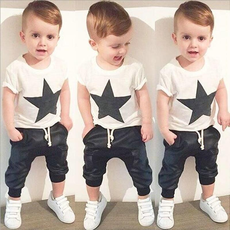 7658bfcb7048 2019 Wholesale Baby Boy Clothes Set Black Star Print Short Sleeve T ...