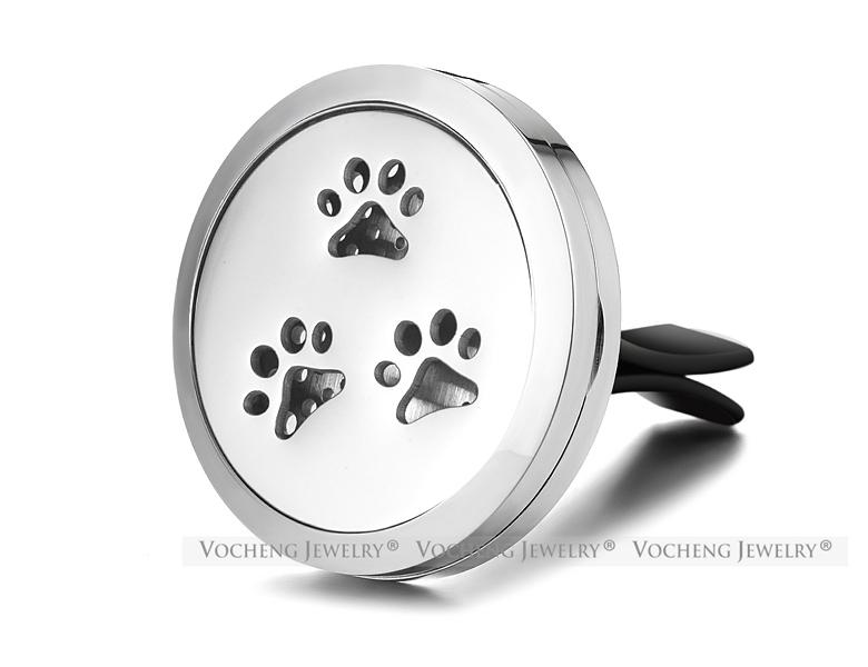 30mm Stainless Steel Car Air Freshener Aromatherapy Essential Oil Diffuser Locket Jewelry Paw print without Felt Pads VA-511