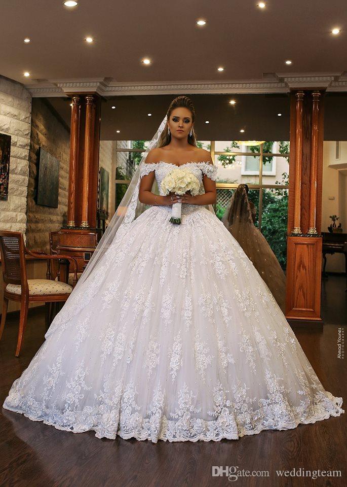 Великолепное кружевное бальное платье Свадебные платья Аппликации с плеча Свадебное платье из бисера с блестками Часовня Плюс Размер Свадебные платья