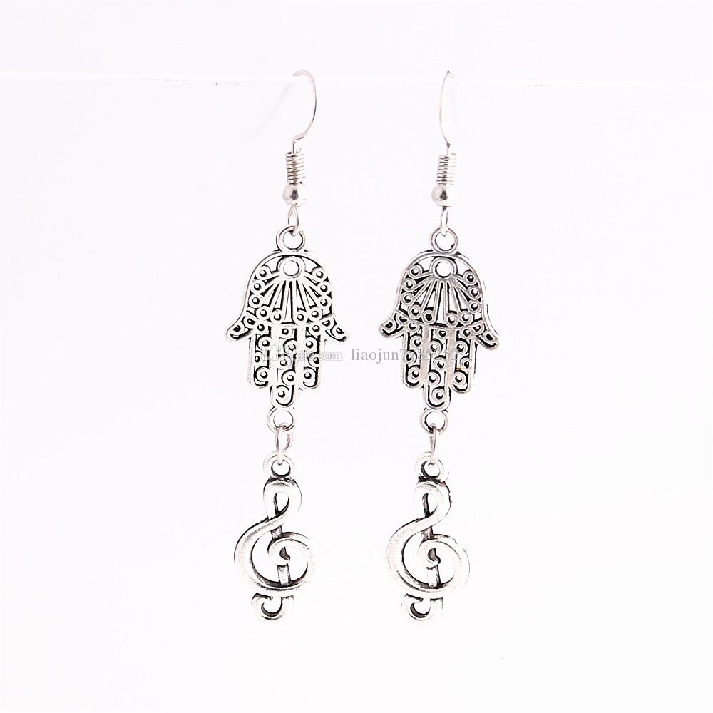 Metal Alloy Zinc Hamsa Hand Connector Musci Note Pendant Charm Drop Earing Diy Jewelry Making C0748