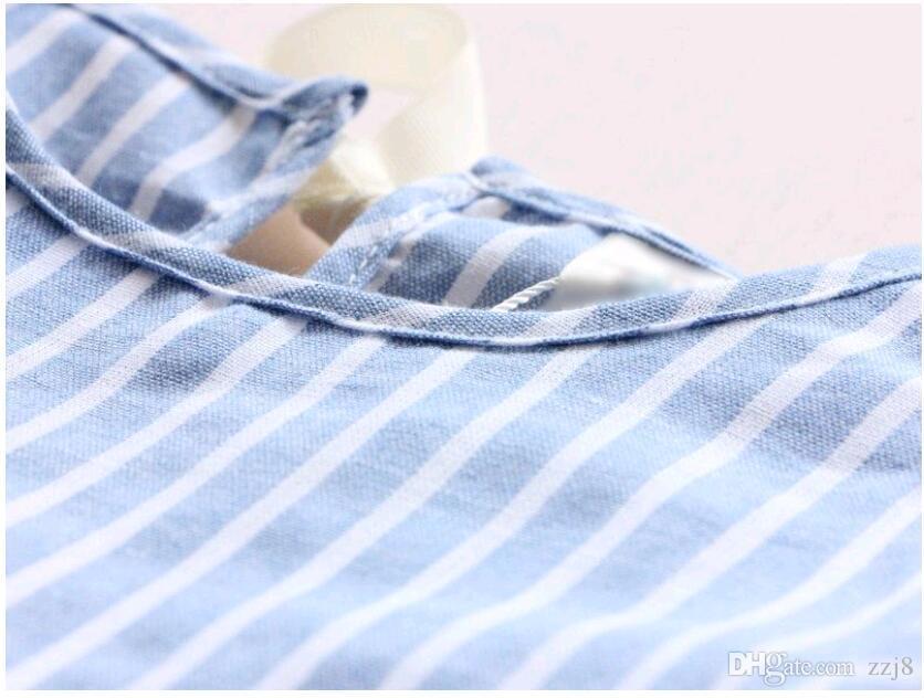 Doux Enfants Filles Robes De Poupée Mignon Été Rayures Manches Bouffées Arcs De Ruban Robe Décontractée Sholderless Couleur Bleue Robe De Mode Coréenne