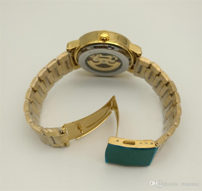Reloj mecánico automático Correa de acero inoxidable de oro para hombres con reloj hueco MUONIC Moda vendiendo relojes Guangzhou