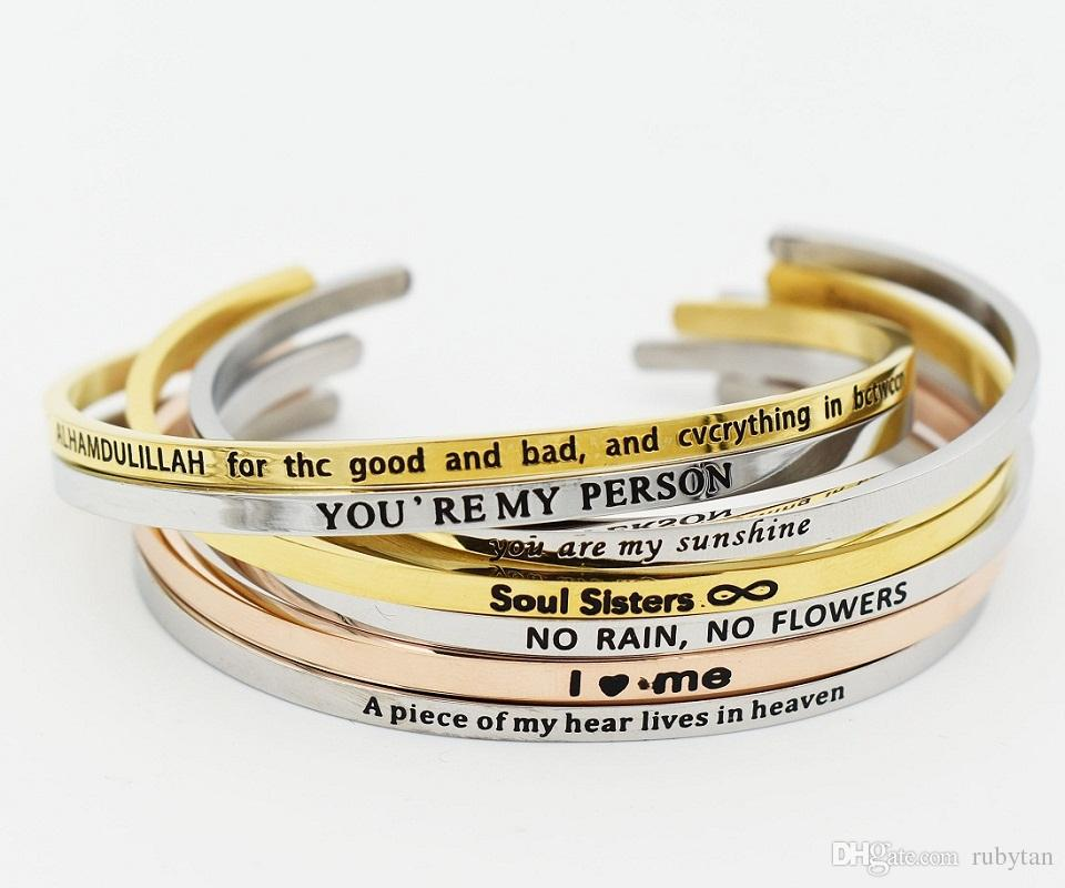 Silver Stainless Steel Bar Engraved PEACE LOVE HPPINESS Positive Inspirational Quote Cuff Bracelet Bangle For women Men