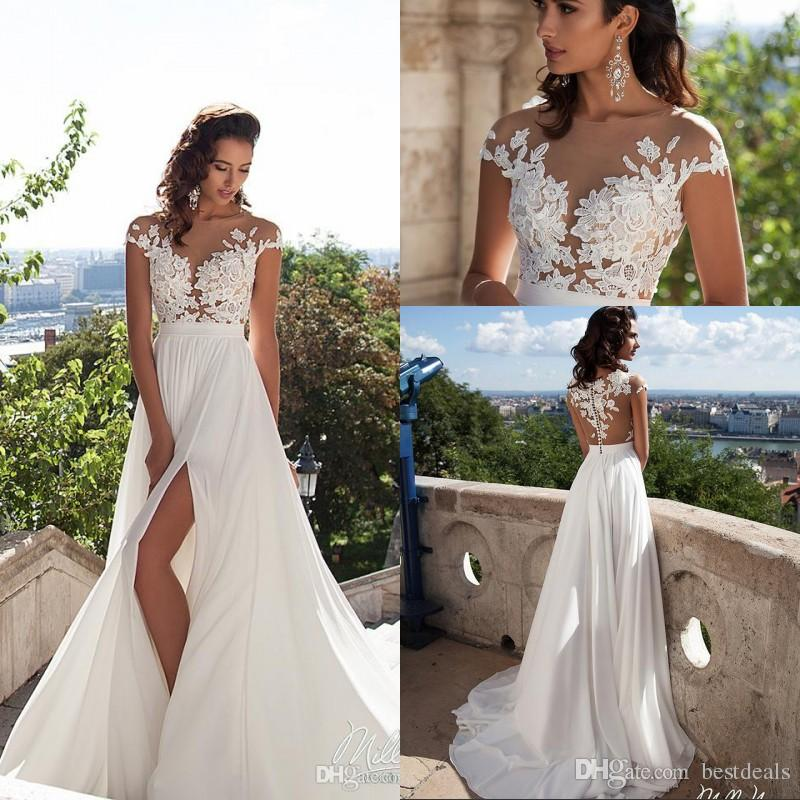 Discount Simple Elegant Chiffon Bohemian Wedding Dresses 2019 Sheer Neck  Lace Appliques Cap Sleeves Thigh High Slits Beach Bridal Gowns Wedding  Dresses For ... e1d25aa55361