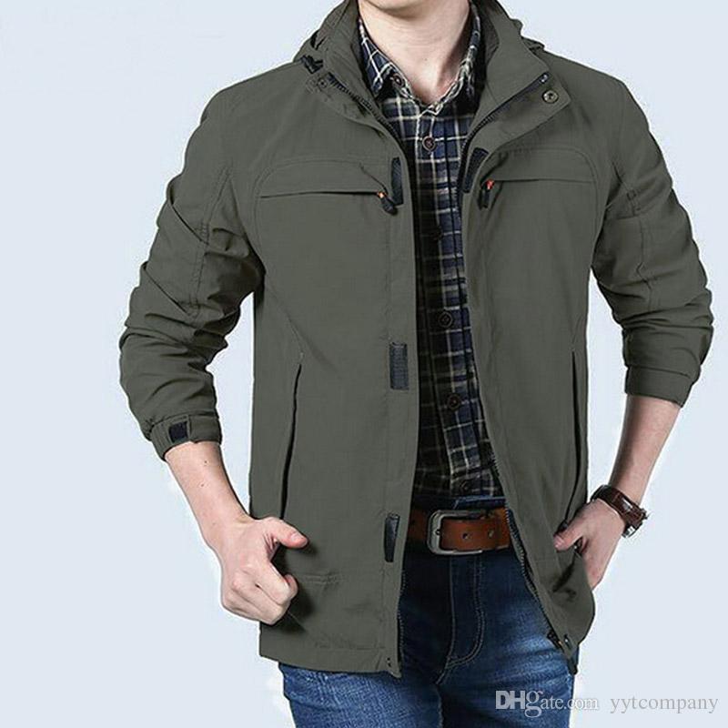 Men Outerwear Jackets Fashion Casual Long Sleeve Full Zip Jacket ...