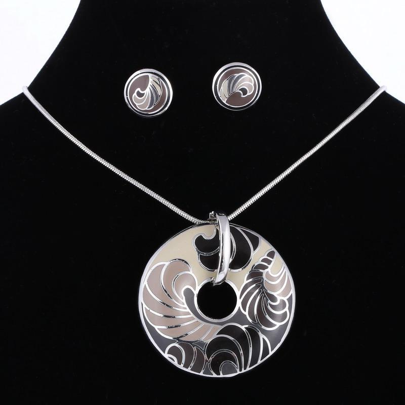 2016 Estilo de verano Conjuntos de joyería de esmalte Plateado Plata Vintage Impresión 3D para las mujeres niña collar colgante Stud pendientes mujer