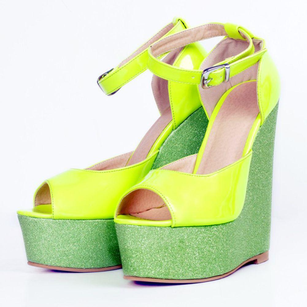 Zandina Womens Fashion Handmade 15cm Wadge Ferse Patchwork Leder Peep Toe Pumps Party Kleid Schuhe Grün XD113