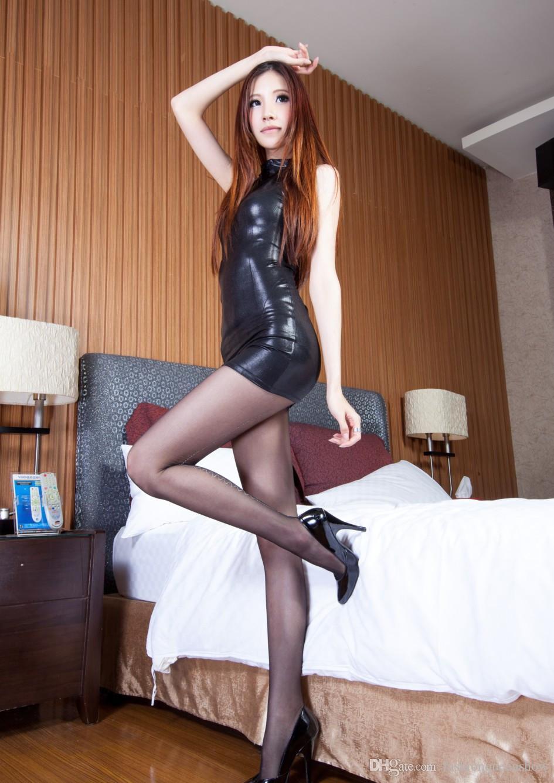 Summer Hot Sexy Women's Black Mini Bodycon Dresses Sleeveless Sexy Slim Costume Clubwear Wet Look High Collar Dress
