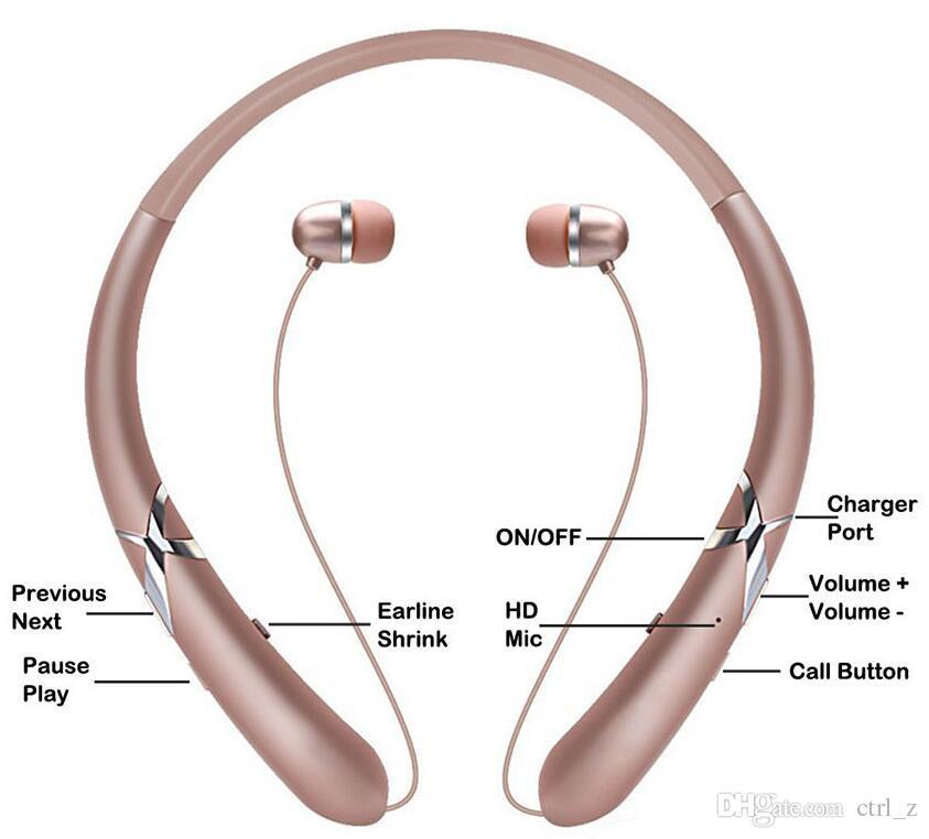 HX965 Bluetooth Headsets Wireless CSR4.1 Nackenbügel Kopfhörer Retractable Ohrhörer Sport Ohrhörer mit MIC für iPhone Android Smartphones