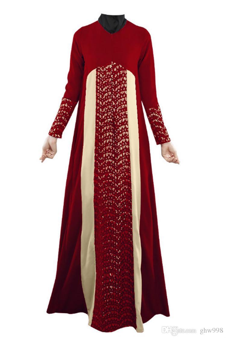 Albornoces árabes musulmanes Costura de encaje vestidos vestido suelto envío gratis