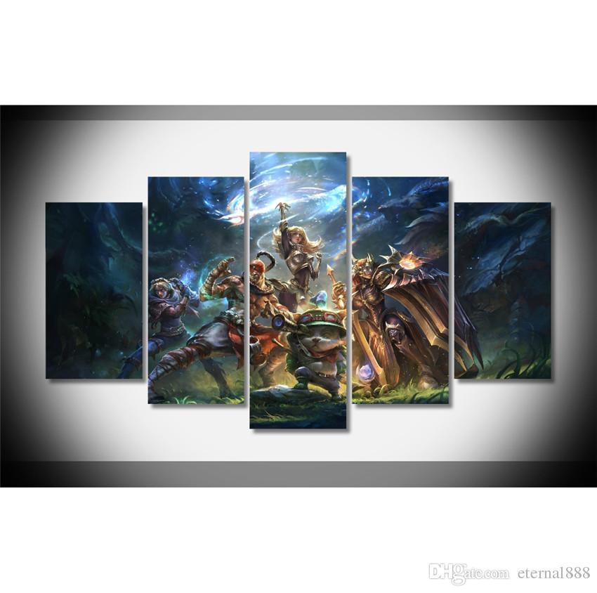 2018 5 Panels League Of Legends Team Modern Abstract Canvas Oil ...