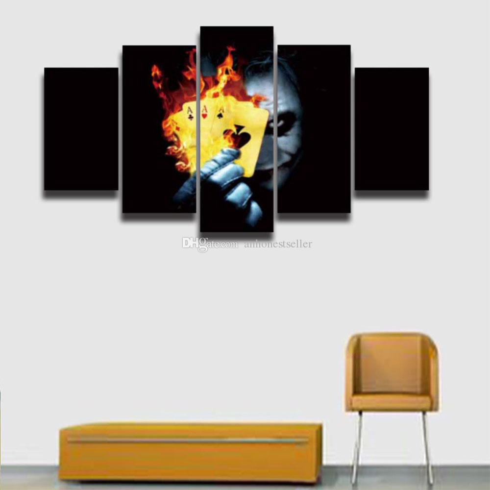 2018 5 Panels Printed Joker Picture Canvas Painting For Wall Art ...