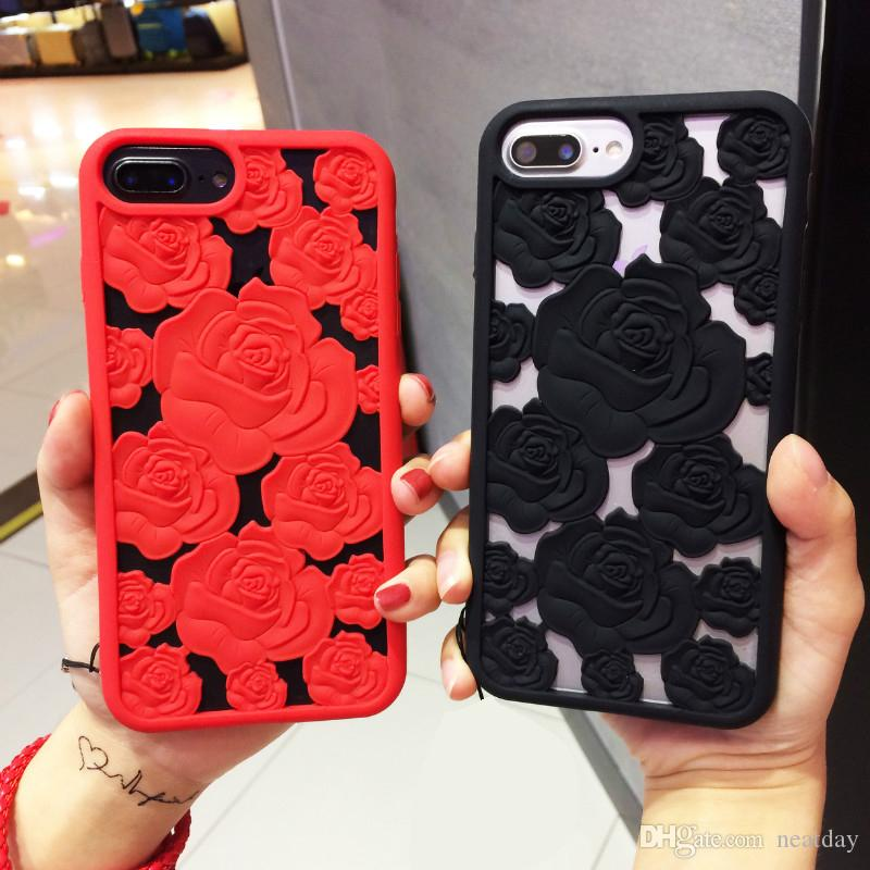 3d Hollow Rose Soft Silicone Cell Phone Case For Apple Iphone 8