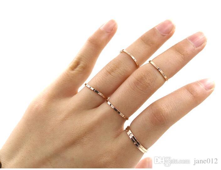 En gros en acier inoxydable coréen argent / 18K Rose plaqué index de joint mince et bagues de petite bande de doigt pour les femmes Mix Taille