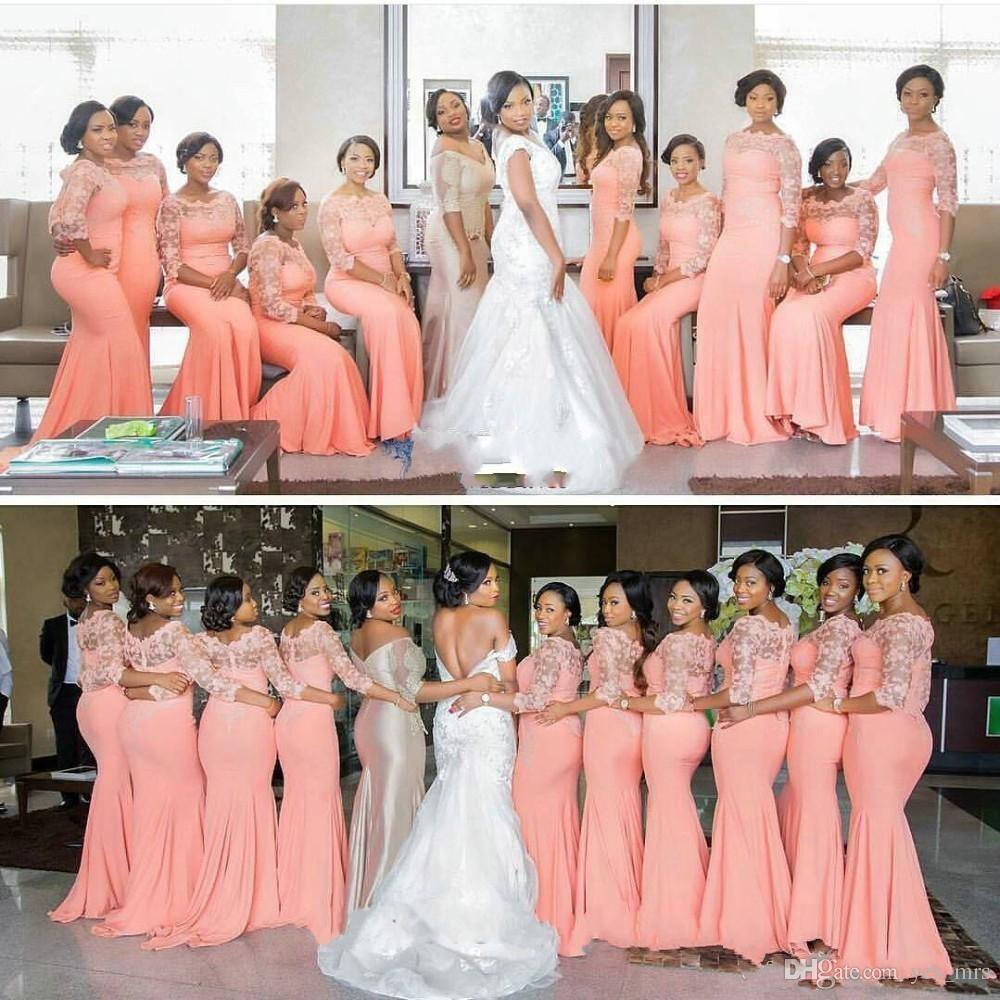 2020 Pêssego Africano Longo Dama De Promoção Vestidos Três Quarter Sleeves Plus Size Lace Sereia Vestido de Festa Longo Vestido Bridemaid Dress Breat Honra Vestidos