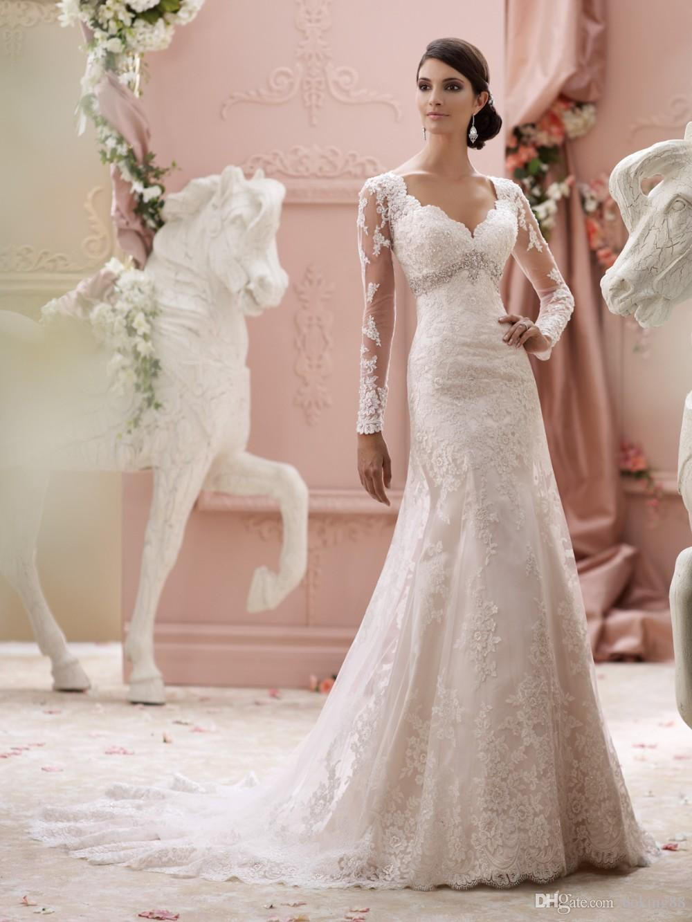 Lace Long Sleeve Sheath Wedding Dresses 2017 Scoop Neckline With ...