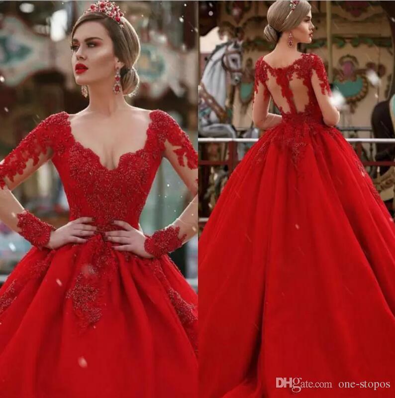 6e27aa2cf8449 Satın Al Resmi Uzun Kırmızı Abiye Dantel V Yaka Uzun Kollu Balo Ünlü Abiye  Custom Made Vestidos Dresses, $150.36   DHgate.Com'da