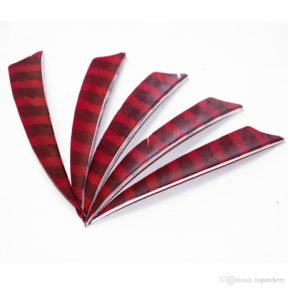 4'' Left Wing Feathers for Glass Fiber Bamboo Wood Archery Arrows Hunting and Shooting Shield Red-black Fletching