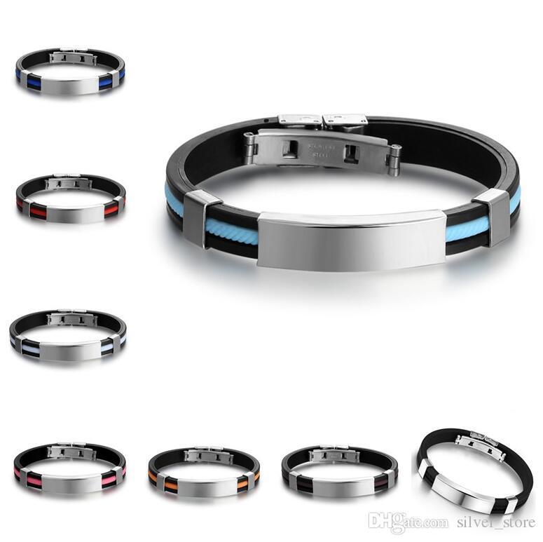 Fashion jewelry titanium steel silicone bracelet FB388 a Slap & Snap Bracelets