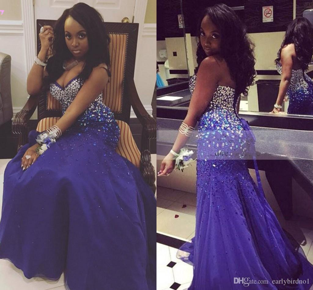 2017 New Luxury Strapless Sleeveless Prom Dresses Long Sexy Sparkling Beads Rhinestones Lace Up Back Formal Evening Gowns For Black Girls