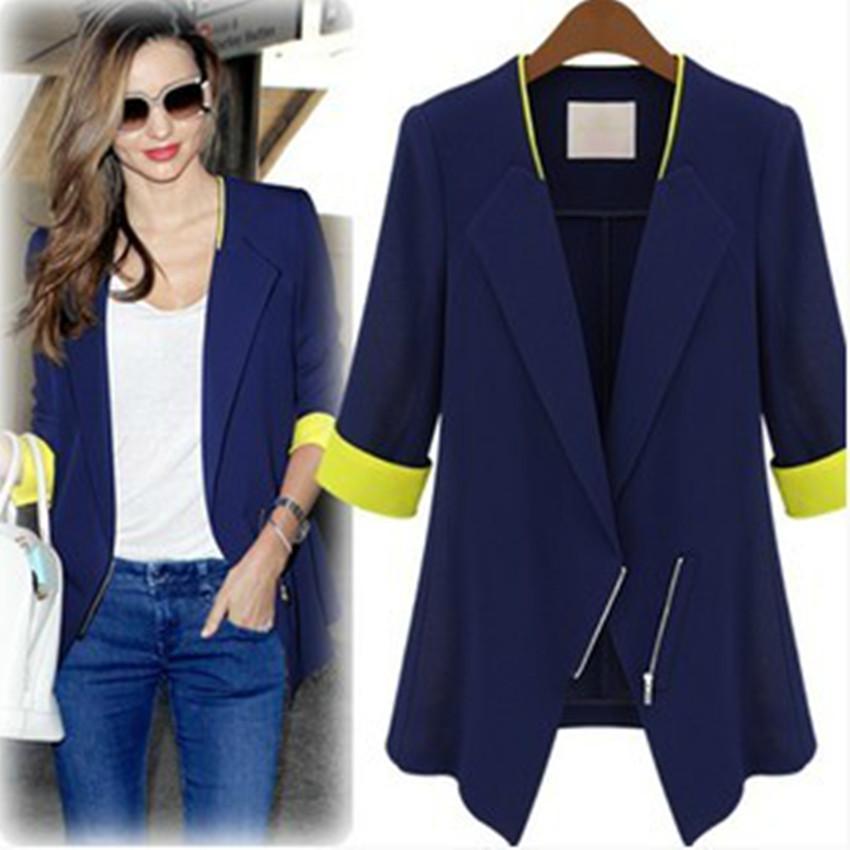Лоскутное 2016 повседневная дамы Blazer женщины пиджаки блейзеры и элегантные куртки свободные темно-синий Bleiser пальто Americanas Mujer Blaser