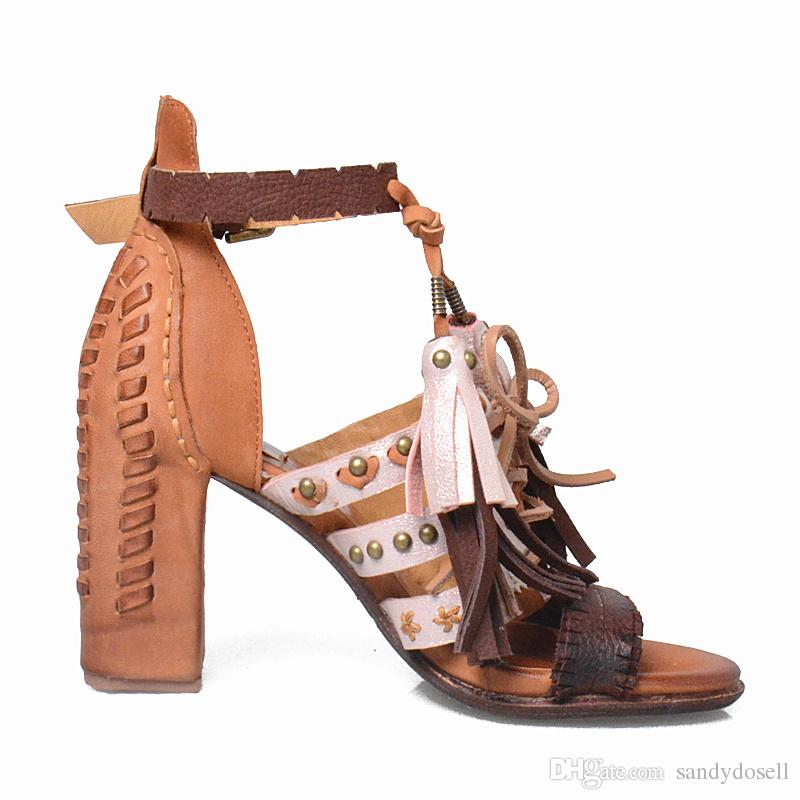 2017 Ethnic Rivet Fringe High Heels Sandals Women Rome Buckle High Quality Weave Leather Shoes Mix Color Cover Heel Beach Shoes