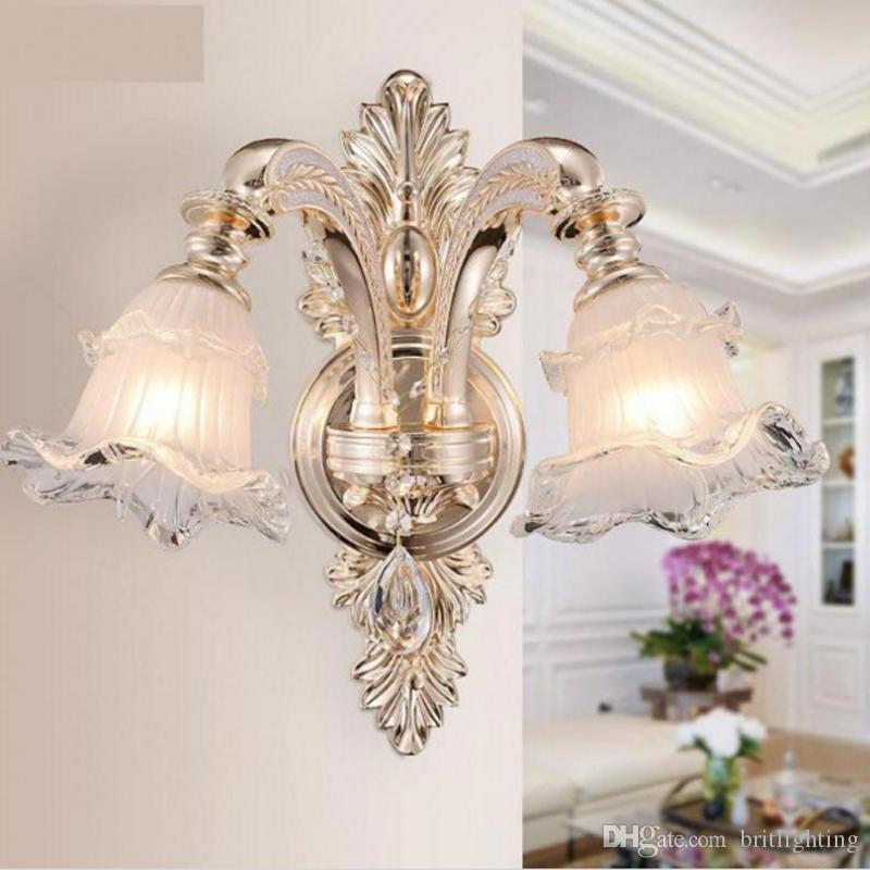 european style bedroom bedside lamp simple single head double living room tv background wall lamp led crystal candle hotel villa wall lamp led crystal