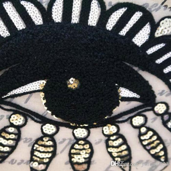 Lace towel embroidery garment accessories wool cloth paste patch mesh sequins black eyes industry subsidies 26cm*17.5cm