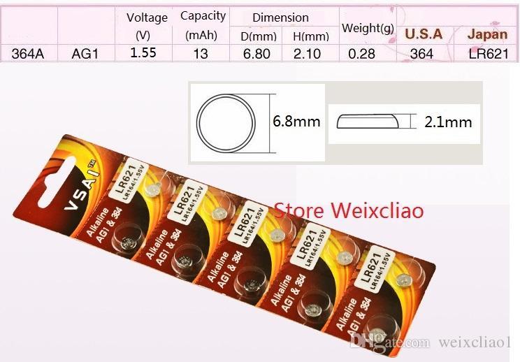 1 AG1 LR621 164 364 364A SR621 LR60 1.55V pile bouton alcaline pile de la batterie piles VSAI Livraison gratuite
