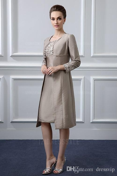 Two Piece Mother of the Bride Dresses With Jacket Taffeta Lace Applique Bead Sheath Knee-Length Mother Of The Groom Dress Wedding Guest Gown