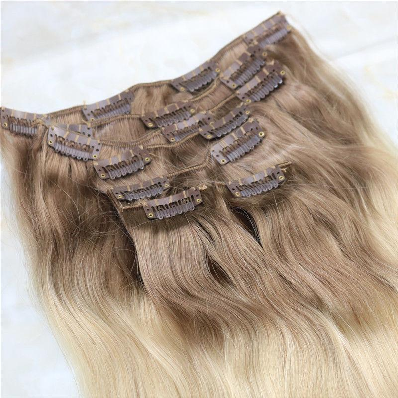 Ombre Indien Remy Clip Dans Les Extensions De Cheveux Humains T6 / 613 Brun Blonde Deux Tone Clip Vierge Dans Les Extensions De Cheveux 100g