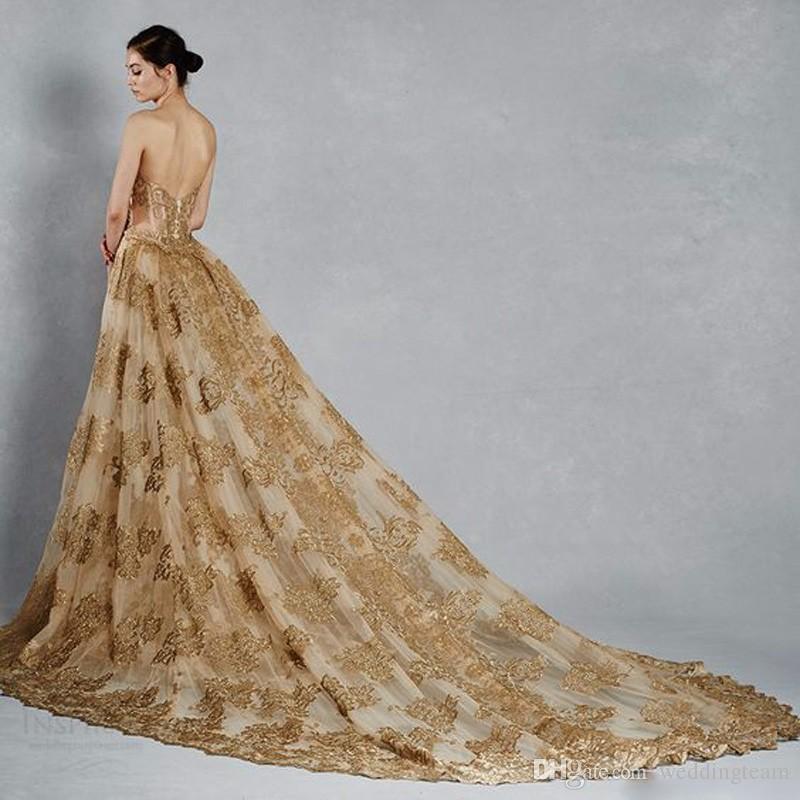 Robes de mariée sirène magnifique avec un train détachable Sweetheart Col Dentelle Appliques Balayer Train Tulle Gold Chapelle Robes de mariée