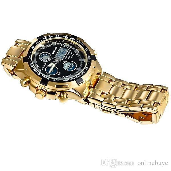 패션 망 스포츠 시계 Led 골드 빅 페이스 쿼츠 시계 남자 방수 손목 시계 남성 시계 시계 relogio masculino