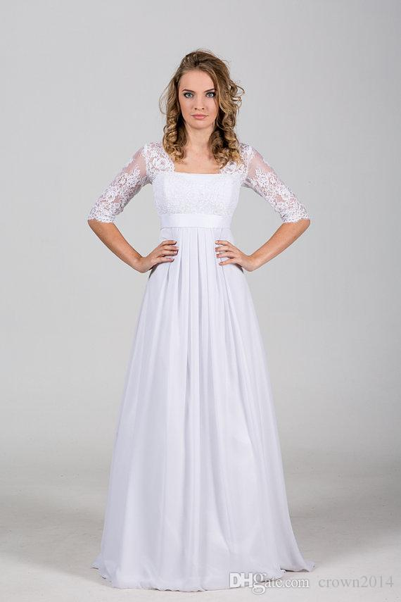 Boho Chiffon Vintage Beach Wedding Dress 2019 com Lace Corset Illusion Metade mangas de cetim Belt Bohemian Ruffle Lace-up vestidos de noiva baratos