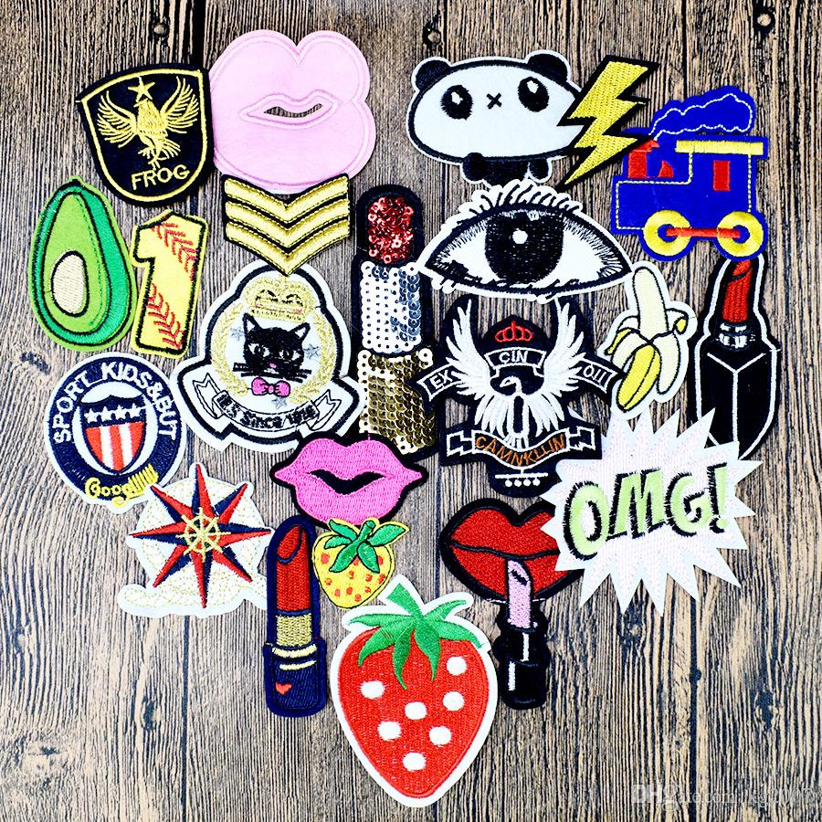 Diy patches for clothing iron embroidered patch applique iron on patches sewing accessories badge stickers for clothes bag