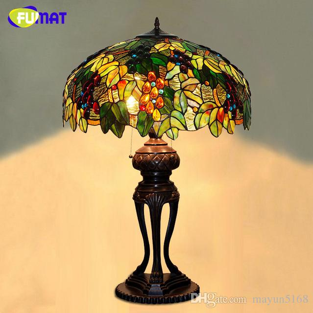 2018 European Tiffany Stand Lamp High Quality Stained Glass Grape ...