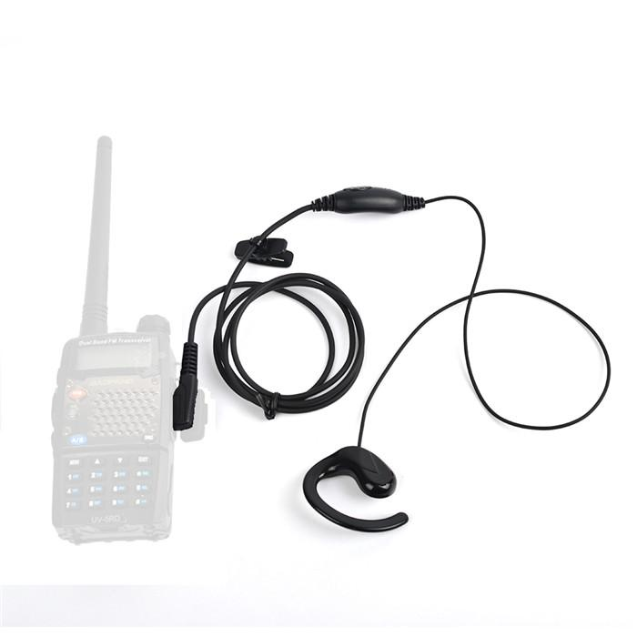 2 Way Radio Earpiece 2 Pin G Shape Police Security Headset Ptt Mic