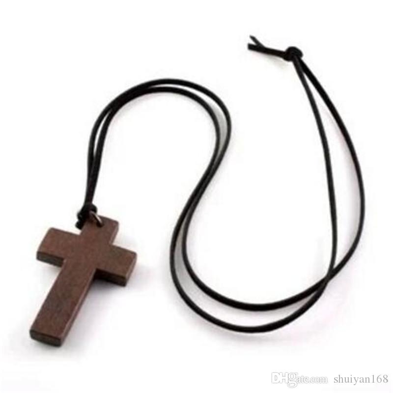 Wooden Necklace Cross Korean Style Vintage Jewelry Pendant Simple Wooden Cross And Leather Rope Charm Fashion Women Necklace Sweater Chain