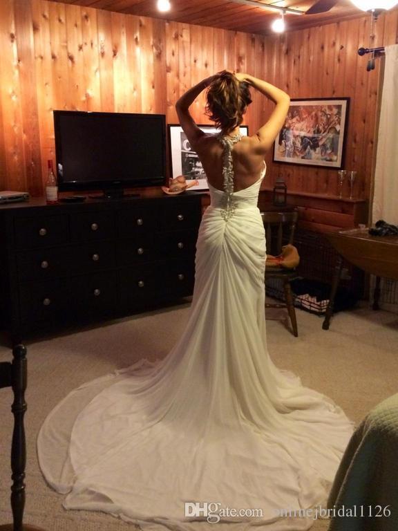 Stunning Sheath Chiffon Halter Summer Wedding Dress COR-828 Beaded Halter Beach Bridal Gown Robe De Mariage Custom Made