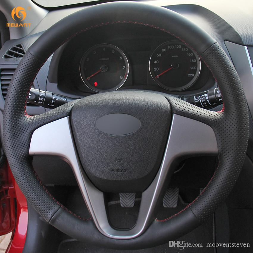 DIY Mewant Black Artificial Leather Car Steering Wheel Cover for Hyundai  Verna 2010-2016 i20 2009-2015 Accent 2012-2017