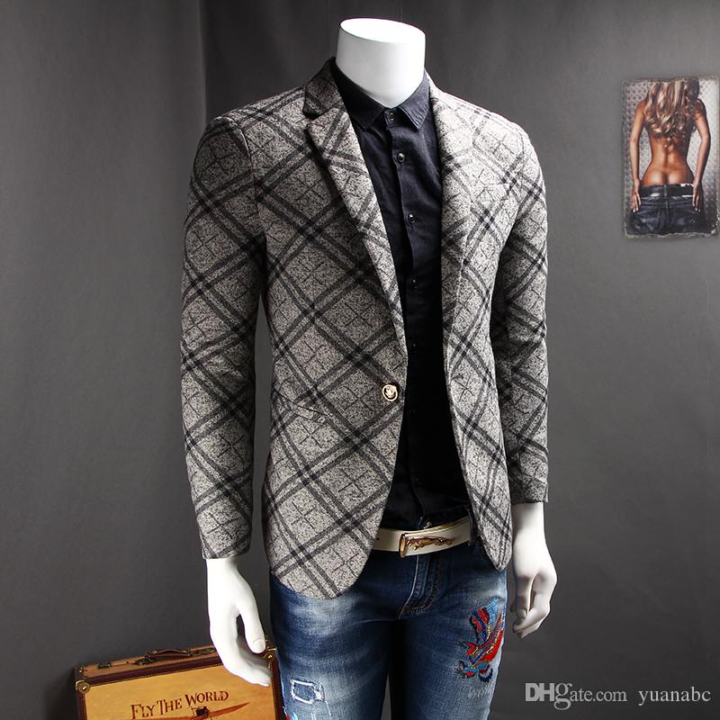 2018 New 2017 Fashion Spring Men Blazer Design Suits Grid Grey Joker The New Men Leisure Jacket ...