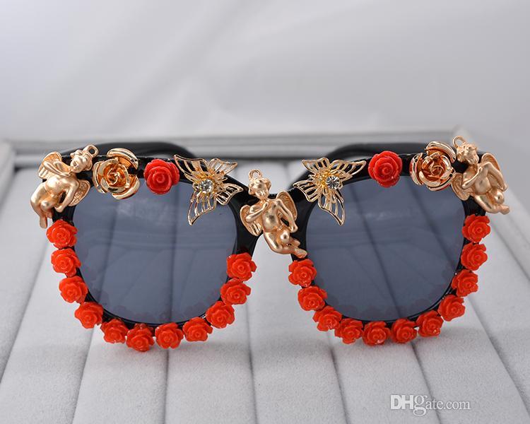 Top Quality Brand Designer Angel Sunglasses for Men Women Fashion Classical Red Flower Sunglass Baroque sunglasses Set auger Beach Sunglass