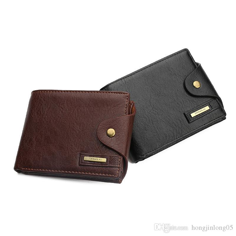 JINBAOLAI 신품 복원 남성용 지갑 3 긴 띠형 고급 Hasp 대형 검정 갈색 교차 동전 포켓 ID 카드 소지자 지갑