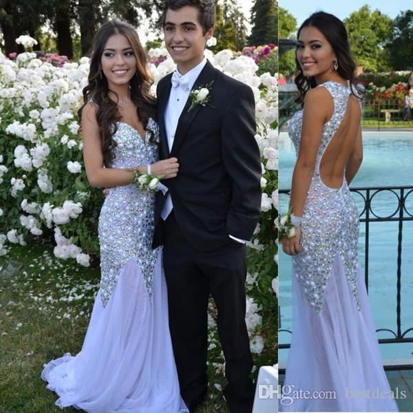 2017 Glamorous Sparkly Silver Prom Dresses Sexy Sweetheart Long Open Back Shiny Evening Gowns with Rhinestones vestido para formatura