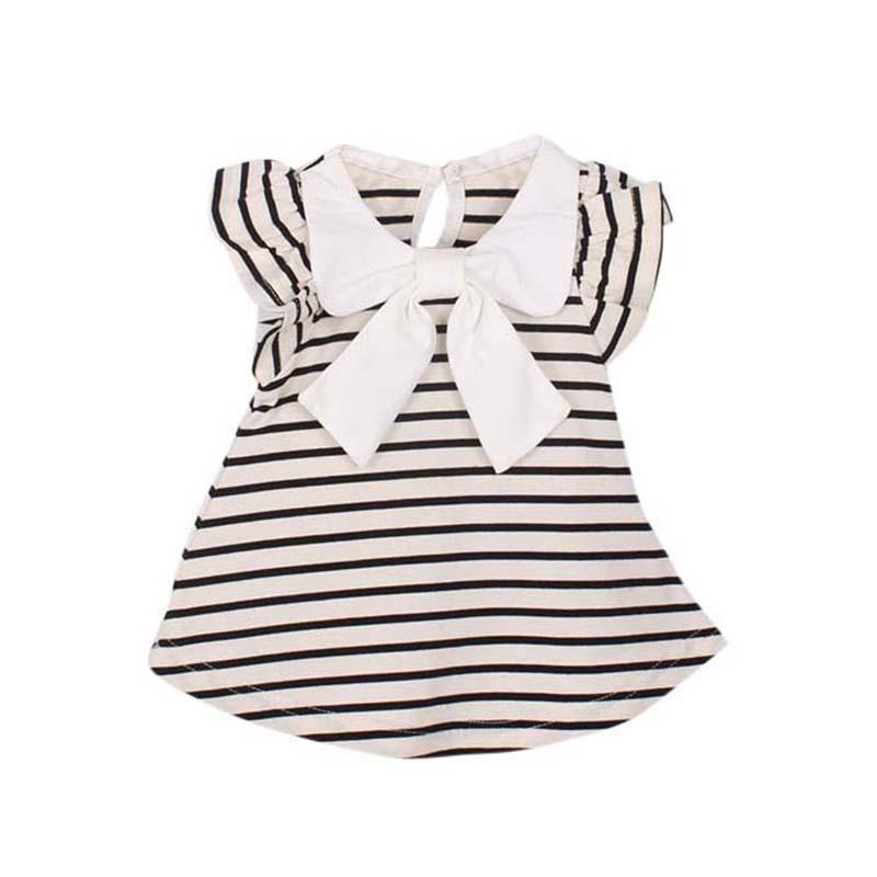 Discount Cute Lovely Baby Girl Dress Summer Girl Cotton Striped Bow